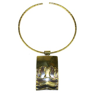 Handmade Waves Brass Pendant Necklace (South Africa)