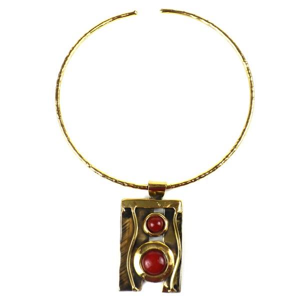 Handmade Carnelian Mountain Brass Pendant Necklace (South Africa)