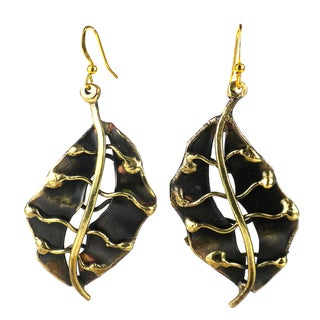 Handmade Fall Leaf Brass Earrings (South Africa)