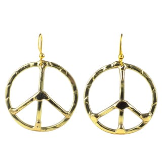 Handcrafted Hammered Brass Peace Sign Earrings (South Africa)