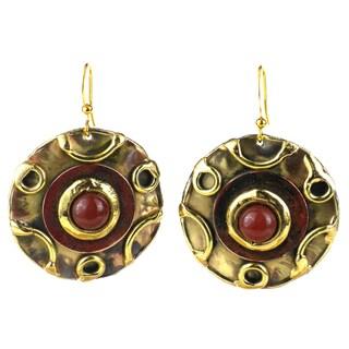 Handmade Carnelian Disk Brass Earrings (South Africa)
