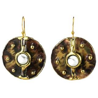 Handmade Howlite Brass Disk Earrings (South Africa)