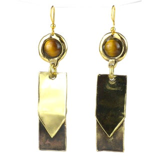 Handcrafted Golden Tiger Eye To the Point Brass Earrings (South Africa)