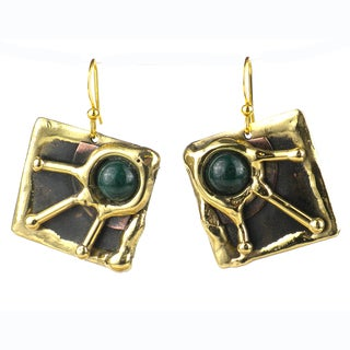 Handmade Green Jade Rays Brass Earrings (South Africa)