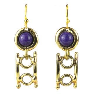 Handmade Purple Jade Playground Brass Earrings (South Africa)