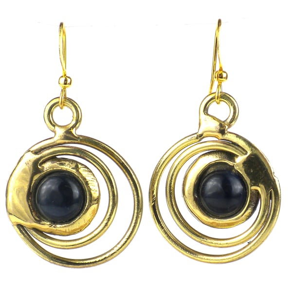 Handcrafted Concentric Dark Blue Tiger Eye Brass Earrings (South Africa)