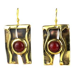 Handmade Carnelian Mountain Brass Earrings (South Africa)