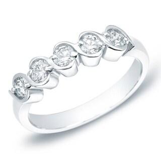 Auriya 14k Gold 1/2ct TDW S-Swirl 5-Stone Diamond Anniversary Ring