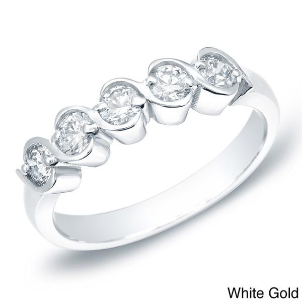 """Auriya 14k Gold 1/2ct TDW Swirl """"S"""" Diamond 5-stone Ring (H-I, I1-I2)"""
