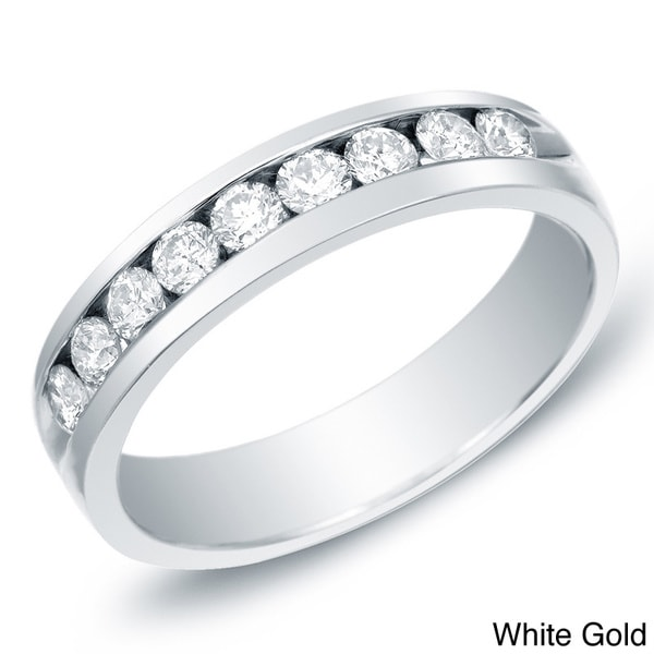 Men's 14k Gold 1ct TDW Diamond Channel-Set Diamond Ring or Wedding Band by Auriya