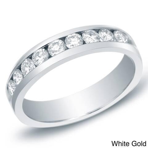 Men's 14k Gold 3/4ct TDW Round Diamond Wedding Band by Auriya