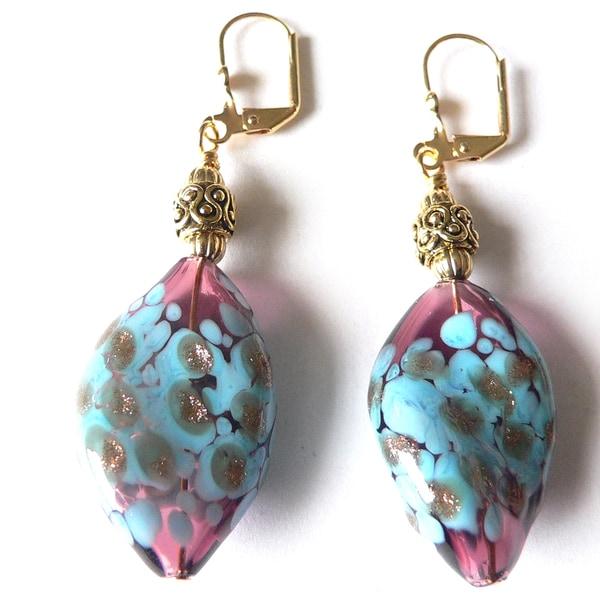 'Ondine' Twisted Glass Dangle Earrings
