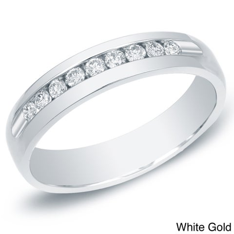 Auriya 14k Gold Men's 1/2ct TDW Channel-Set Diamond Ring Wedding Band