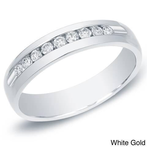 Auriya Men's 14k Gold 1/2ct TDW Channel-Set Diamond Wedding Band