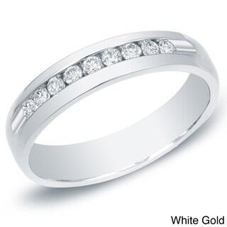 Auriya 14k Gold Men's 1/2ct TDW Channel-Set Diamond Ring Wedding Band (More options available)