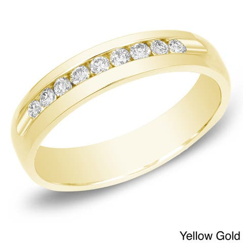 Men's 14k Gold 1/2ct TDW Channel-Set Diamond Wedding Band by Auriya