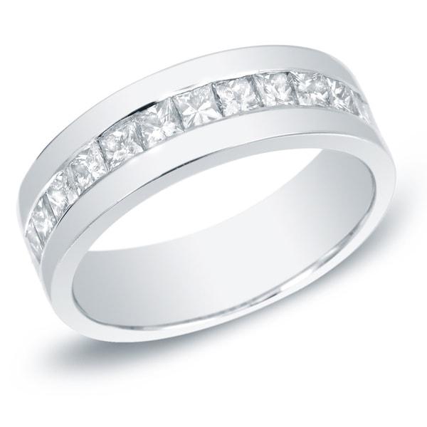 Auriya Men's 14k Gold 1 1/2ct TDW Channel-Set Princess-Cut Diamond Ring Wedding Band