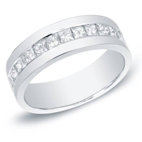 Men's 14k Gold 1 1/2ct TDW Channel-Set Princess-Cut Diamond Wedding Band by Auriya