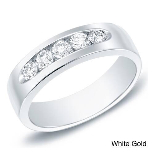 Auriya Men's 14k Gold 7/8ct TDW Channel-Set Diamond Wedding Band
