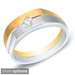 Men's 14k Gold 1/5ct TDW Princess Diamond Solitaire Wedding Band by Auriya