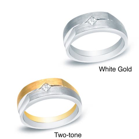 Men's 14k Gold 1/5ct TDW Princess Diamond Solitaire Wedding Band by Auriya