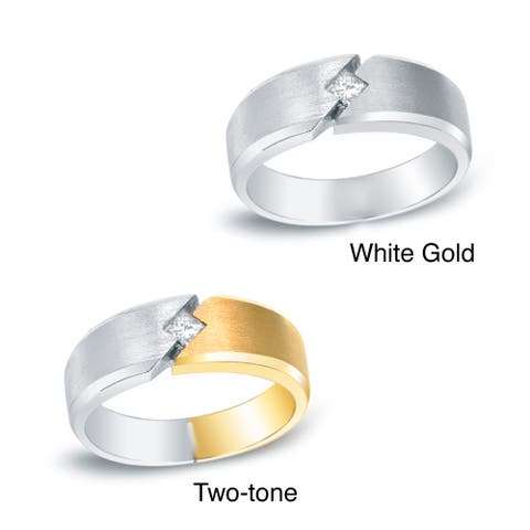 Auriya Men's 14k Gold 1/5ct TDW Square Diamond Wedding Band