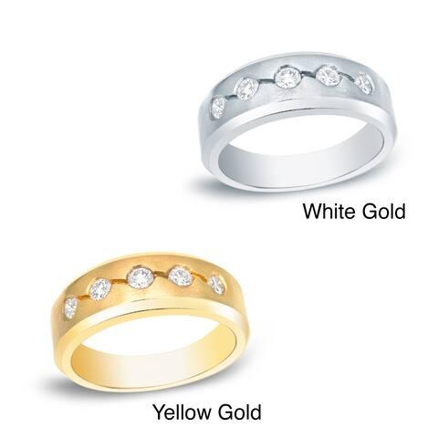 Men's 14k Gold 3/5ct TDW 5-Stone Diamond Wedding Band by Auriya