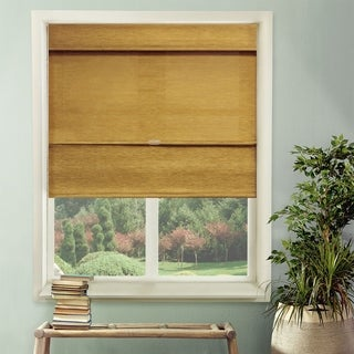 Chicology Cordless Magnetic Roman Shade, Jamaican - Natural Woven, Privacy - Jamaican Antique Gold