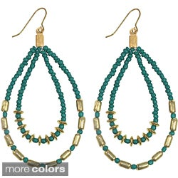 Handmade Colorful Seed Bead DoubleTeardrop Earrings (India)