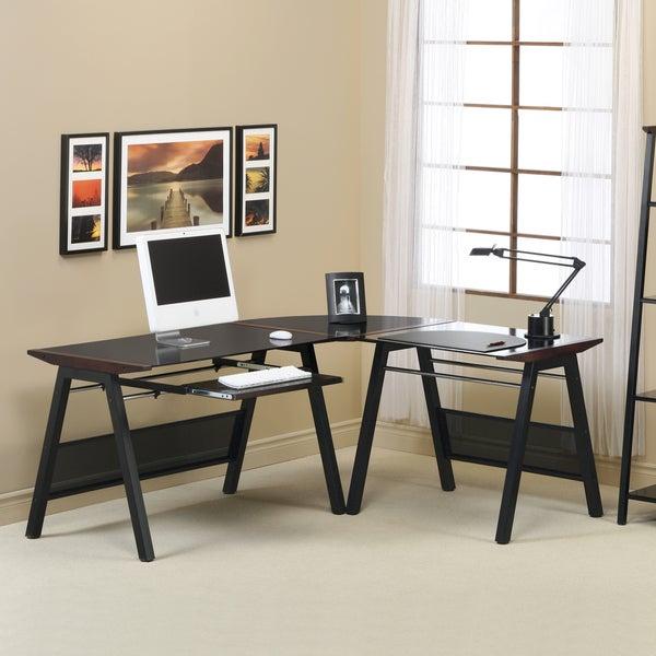 Dark Walnut Accent Black Metal Computer Workstation Desk