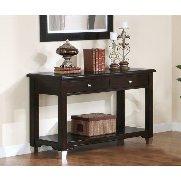 Walnut Veneer Sofa Console Table with 2 Drawers