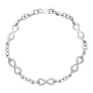 Sterling Silver 1/4ct TDW Diamond Infinity Bracelet (J-K, I1-I2)