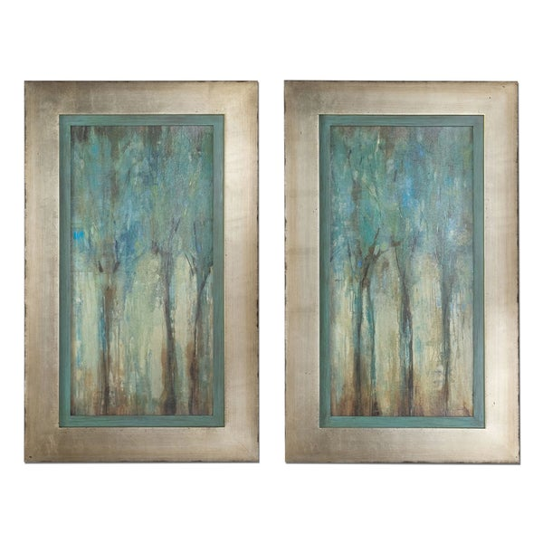 Uttermost 39 whispering wind 39 framed art set of 2 free for Wall of framed pictures