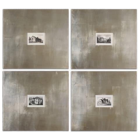 Uttermost Historical Buildings Framed Art Set/4 - Black/White
