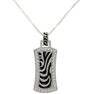 Carolina Glamour Collection Silver CZ Zebra Stripe Rectangle Necklace