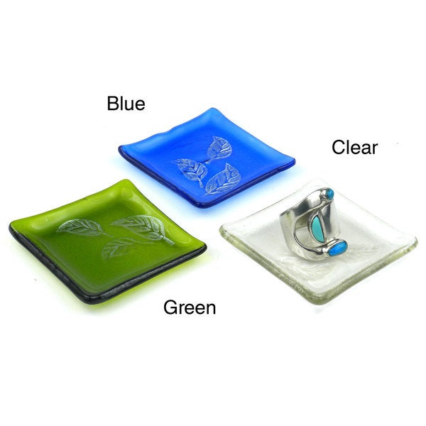 Handmade Etched Leaf Recycled Glass Ring Tray (Chile)