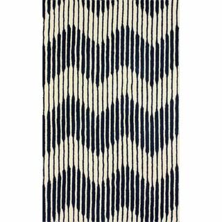 nuLOOM Handmade Chevron Navy Wool Rug (7'6 x 9'6)