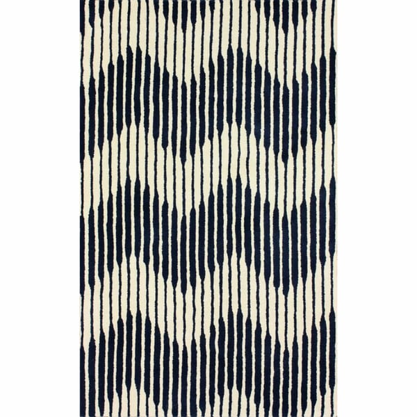 Chevron Denim Wool Rug: Shop NuLOOM Handmade Chevron Navy Wool Rug
