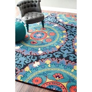 nuLOOM Handmade Suzanni Multi Wool Rug (7'6 x 9'6)