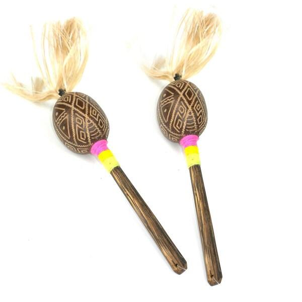 Set of Two Handmade Junior Wingo Shakers with Rope (Peru)