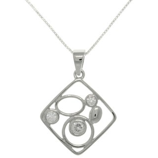 Carolina Glamour Collection Sterling Silver CZ Geometric Necklace