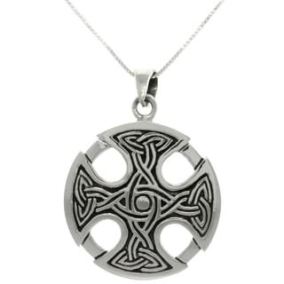 Carolina Glamour Collection Silver Celtic Medallion Cross Necklace