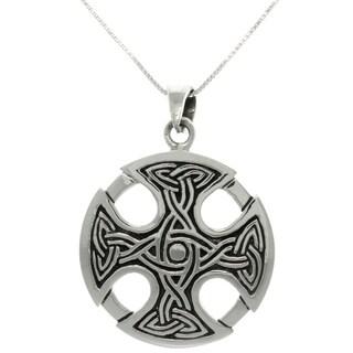 Silver Celtic Medallion Cross Necklace