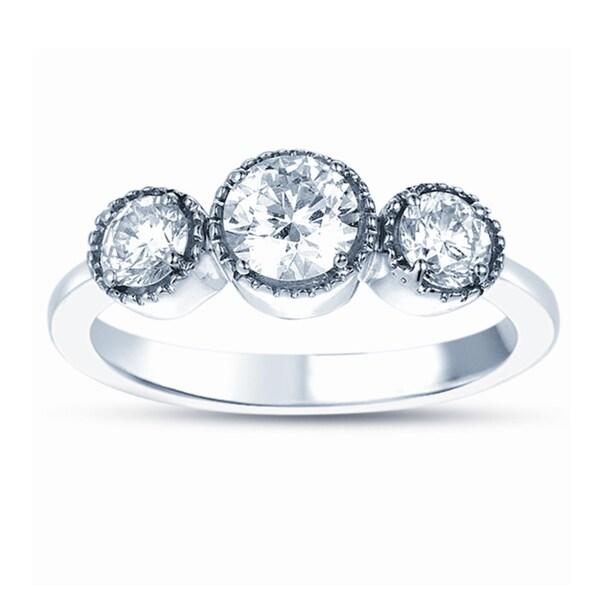 18k White Gold 1/2ct TDW Diamond 3-stone Ring (G-H, SI1-SI2)