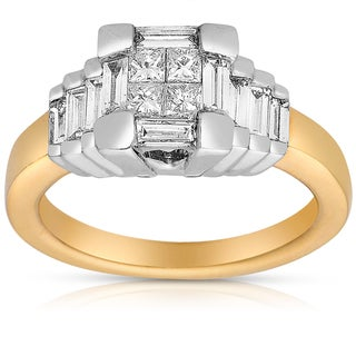 Eloquence 14k Two-tone Gold 1ct TDW Princess-cut Diamond Ring