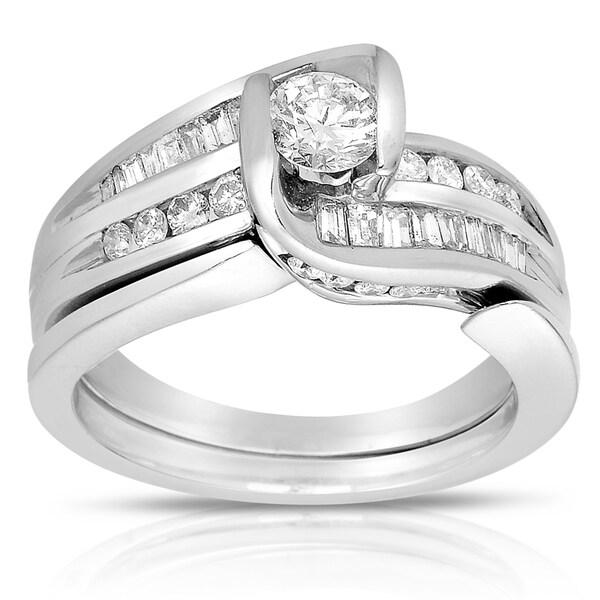 14k White Gold 1ct TDW Diamond Bridal Set