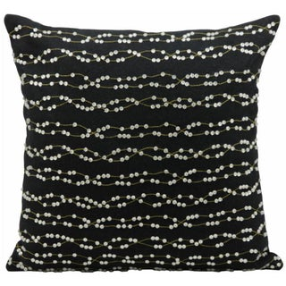 Mina Victory Luminescence Wavy Rheinstones Black/Silver Throw Pillow (18-inch x 18-inch) by Nourison