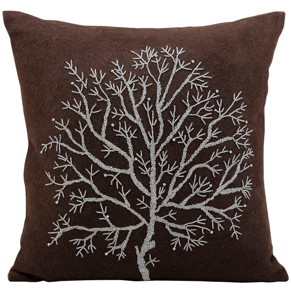 Mina Victory Luminescence Tree Of Life Brown Throw Pillowby Nourison (20-Inch X 20-Inch)