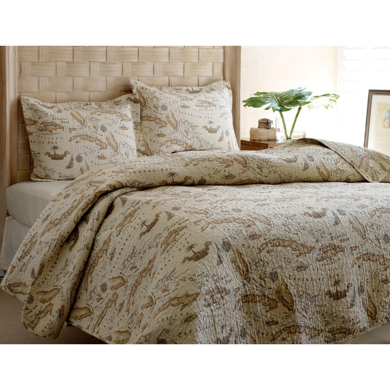 Tommy Bahama Map 3-piece Quilt Set (Twin), Beige (Cotton,...
