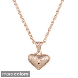 Sterling Essentials Small Engraved Puff Heart Rope Chain Necklace